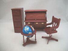 Office Set - Desk Roll Top - Chair Globe -  miniature dollhouse T3645 1/12 scale