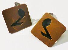 boucles d'oreille clips bijou vintage cuivre rouge note de musique ajouré 3935
