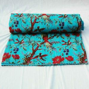 Bird Print Queen/Twin Size Cotton Kantha Quilt Bedspread Throw Blanket Gudari