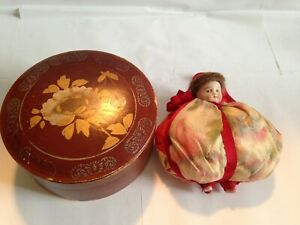 Antique Bisque Porcelain Doll Pin Cushion in Lacquer Box Japan
