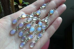 Vintage Blue Moonstone and Silver Chandelier Drop Earrings