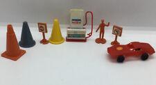 Vintage Plastic Miniature Car, Gas Station, Signs, Caution Cones, Misc Lot