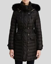 Burberry Brit Pipleigh Down Puffer Coat Jacket with Fur Hood M $1395 save on TAX