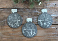 Christmas Ornaments Set of 3 Gray Wood Bulbs with Quotes Primitives by Kathy