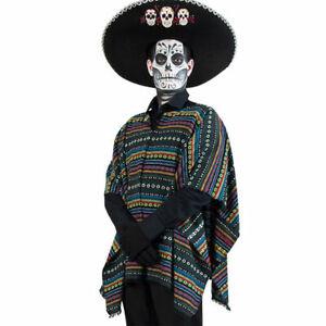 Kostüm Poncho Mexikaner Tag der Toten, Einheitsgröße