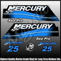 MERCURY 25hp - SEAPRO - DECAL SET - OUTBOARD DECALS