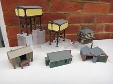 6 DAPOL,RATIO,PECO WATER TOWERS,GARAGE,SIGNAL BOX KIT BUILT BUILDINGS OO GAUGE