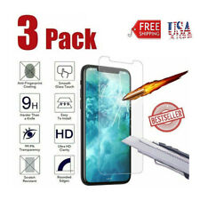 3-Pack for iPhone 11 X XS 6 7 8 Plus Tempered GLASS Screen Protector Bubble Free