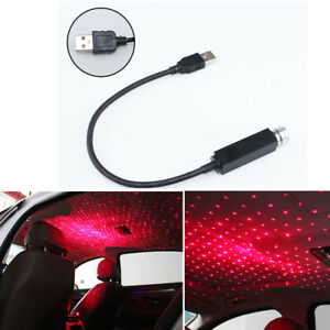 1xRed LED Car Ceiling Projector Lamp Roof Starry Atmosphere Decor Light USB Plug