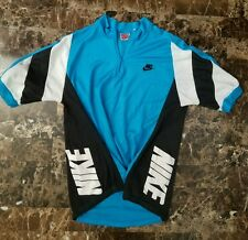 Nike vintage 80s Cycling Shirt sz M Grey Tag 90s top Bicycling Running 1/4 zip