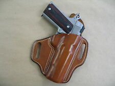 "S&W Smith & Wesson 1911 5"" OWB Leather 2 Slot Molded Pancake Belt Holster TAN RH"