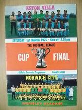 More details for football programme- league cup final 1975 aston villa v norwich city