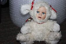 VINTAGE PLUSH LAMB  BABY STUFFED ANIMAL W/  PORCELAIN DOLL FACE