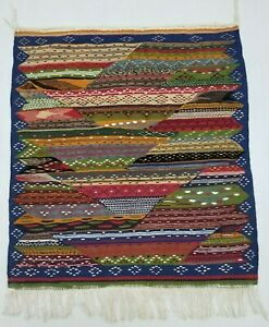 Vintage Handmade Traditional Oriental Red Blue Green Kilim Rug Carpet 101x91cm