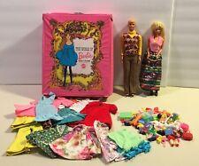 Vintage Mattel Barbie & Ken Lot Case 1968 1966 Cloths Accessories