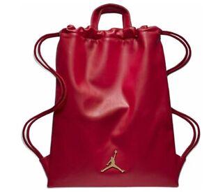 Nike Jordan Jumpman Unisex Faux Red Leather Drawstring Sack Pack 9A0191 R78