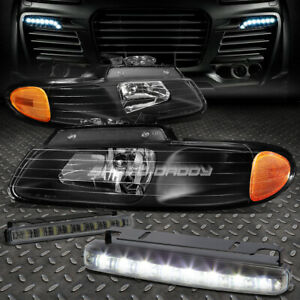 BLACK HOUSING HEADLIGHT+AMBER CORNER+8 LED SMOKE FOG LIGHT FOR 96-99 CARAVAN