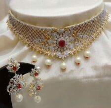 Premium Indian Necklace AD Stone Red Pearls Gold Plated Jewelry Fashion Lovely