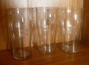 """5 1/4"""" Etched Crystal Tumblers Highball Glasses Lot of 3 Dots Circles Lines"""
