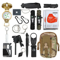 18×Emergency Survival Kit With Nylon Bag+Military Knife For Outdoor Activities