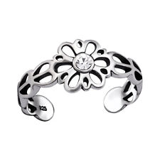 Oval Band Toe Ring Adjustable 925 Sterling Silver Crystal Daisy Filigree