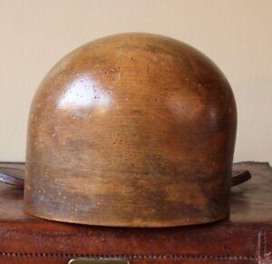 Antique Milliners Rich Brown Wood Hat Block. Vintage Wooden Wig Display Stand