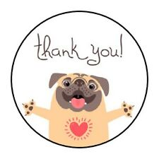 """! THANK YOU ! CUTE DOG STICKER LABEL ENVELOPE SEAL PARTY 1.2"""" OR 1.5"""" ROUND"""
