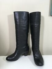 Women's Matisse Western Stitch High Black Leather Pull-on Boots Hi-Heel Size 8.5