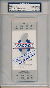 Mike Ditka Signed Chicago Bears Replica Super Bowl XX Ticket Coors PSA/DNA