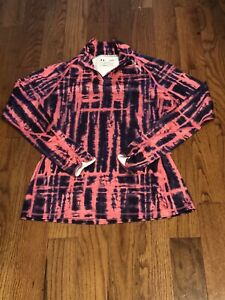 Under Armour Zip Neck ColdGear Fitted Pink Purple Athletic Pullover Womens Large