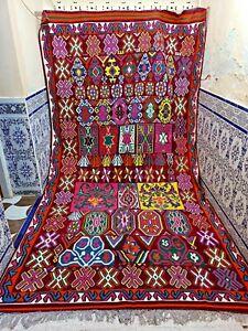 "Vintage Moroccan Rug Handmade Kilim Rug Old Tribal Azilal Wool Berber 12'3"" x6'7"