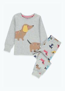 Kids Unisex Grey Sausage Dog Pyjama Set (9mths-5yrs) Nightwear Pyjs Pyjamas