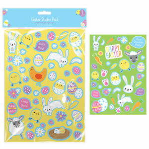 2 Sheets of Coloured Easter Egg/Bunny/Flower Stickers Sticky Adhesive Labels