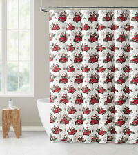 Red Truck, Evergreens & Candy Cane Sparkly Christmas Fabric Shower Curtain