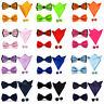 Men Solid Stain Pre-tied Tuxedo Bow Tie Cufflinks Handkerchief Pocket Square Set
