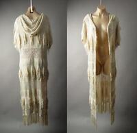 Hooded Victorian Boho Mori Girl Crochet Long Duster Sweater 216 mv Jacket S M L