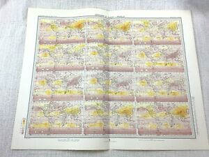 1899 Antique Map of World Climate Wind Isobars Chart Meteorological Weather