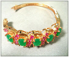 18k Italian Gold Green emerald &Red ruby Bangle Bracelet For lady's Party