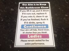fun bathroom rules poster funny A4 joke novelty fun poster