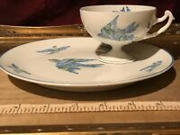 Antique Royal Rudolstadt Prussia Hand Painted Birds Cup & Snack Plate