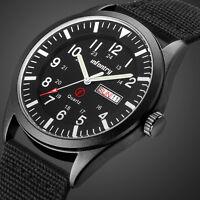 INFANTRY Mens Date Day Quartz Wrist Watch Luminous Sport Military Black Nylon