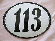 Hausnummer Oval Emaille  schwarze Nr. 113  weißer Hintergrund 19 cm x 15 cm
