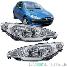 2x Scheinwerfer ( Rechts & Links ) Peugeot 206 98-07 Klarglas Chrom Valeo System