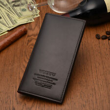 Man's Long Synthetic Leather Wallet Billfold For Cash & Cards HM001 Dark Brown
