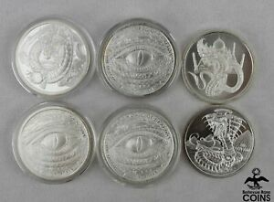 Lot of 6: World of Dragons 1oz .999 Fine Silver Rounds, Egyptian, Welsh+ ASW 6oz