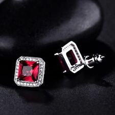 18K White Gold Ruby Red Stone and Diamond Stud Earrings    359