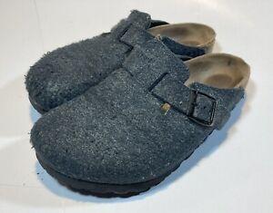 Birkenstock women's Boston wool clogs shoes gray Slip On 38 US 7