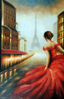 Paris Foggy Day Redhead Red Dress Eiffel Tower Tall 24X36 Oil Painting STRETCHED