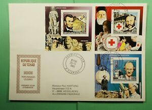 DR WHO 1985 CHAD FDC FAMOUS PEOPLE COMBO S/S RED CROSS Lg13061