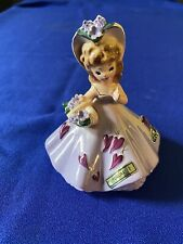 Josef Originals February Month Series Figurine Doll, Purple Dress w/ Hearts